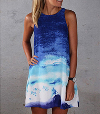 Hand Dyed Short Dress – Shades of Blue / Sleeveless / Round Neckline / T-Shirt Styling