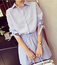 Menswear Style Shirt Dress – Vertical Blue White Stripes / Elasticated Waistband