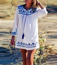 Long Sleeved Hippie Blouse Dress – Contrasting Blue Design / Tassel Details
