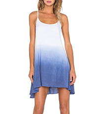 Sleeveless Shift Dress – Gradient Color Change / Irregular Hemline