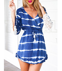 Blue White Striped Beach Dress – Low V Neck / Lace Arms