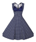 Fit and Flared Dress – White Blue / Polka Dotted