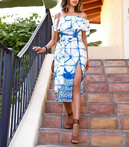 Off The Shoulder Summer Dress – Midi Length / White with Blue