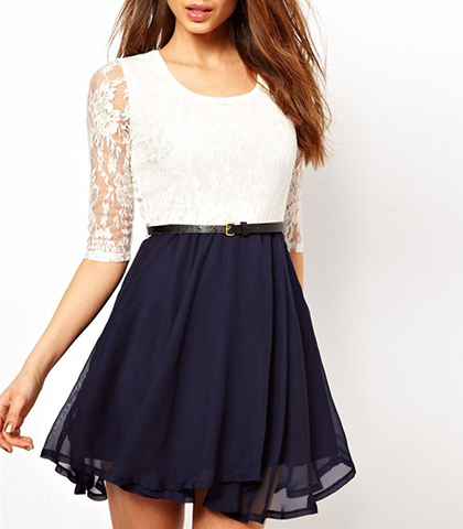 Chiffon Mini Dress – Lace Sleeves / Navy Skirt / White Bodice