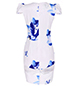 Fitted Knee Length Dress – Blue and White / Mesh Panel