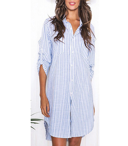 Striped Shirtwaist Dress – Blue and White / Epilates