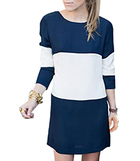 Mini Dress – White Blue / Bold Stripes In Wide Horizontal Bands
