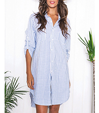 Boyfriend Inspired Pinstripe Dress – Ruched Sleeves / Button Up Front