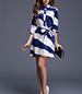 Striped Chiffon Dress – Belted / Buttoned Collar / White Blue