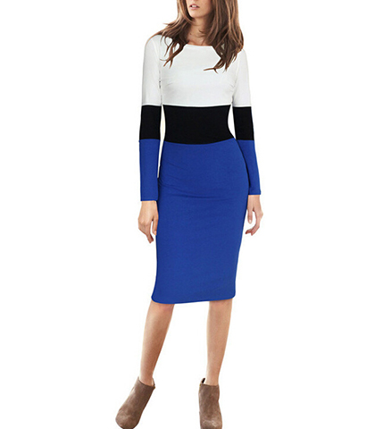 Bodycon Midi Dress – White Black and Royal Blue / Long Sleeves