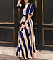Long Sleeve Maxi Evening Dress – Blue and Off White / Very Full Skirt