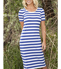 Shift Dress – Soft Stripes / Round Trim Neckline / White Blue / Knee Hemline