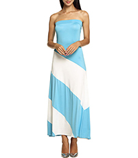 Sexy Strapless Scuba Maxi Dress – Off The Shoulder / White Blue
