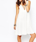 White Sleeveless Dress – Lattice V-Neck Styling / Wide Hemline / Loose Fit
