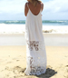 Beach Maxi Dress – Floor Length / Thin Straps / Scooped Neckline / Double Lace Hem