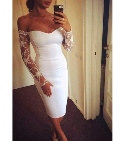 White Sweetheart Bodice Dress – Drop Lace Sleeves / Bodycon Fit / Narrow Hem