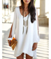 White Loose Fitting Dress – Lace Hemline Trim / Cold Shoulder / Lace Sleeves / V-Neck