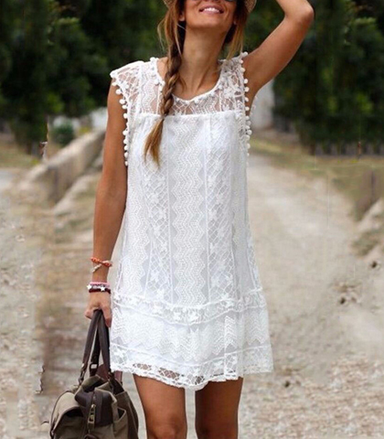 Sleeveless White Lace Dress – Semi-Sheer / Lined / Round Neckline