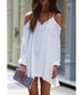 White Dress – Cold Shoulder / Thin Straps / Long Sleeves / Elastic Gathered Cuffs / Irregular Hem
