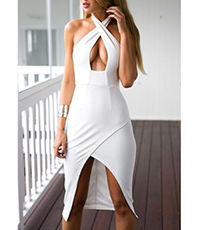 Cocktail White Dress – Cross Over Halter Style / Keyhole Bodice / Hi-Low Hemline / Backless