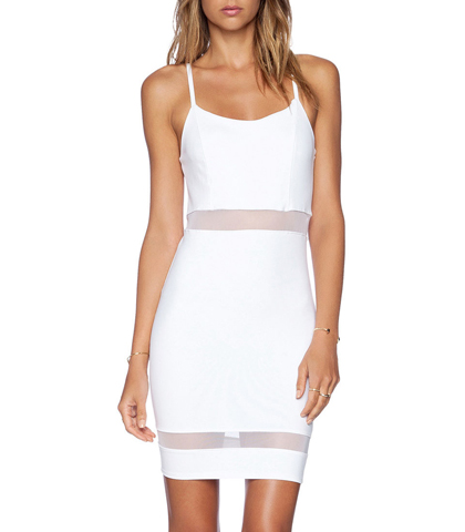 White Dress – Adjustable Shoulder Straps / Mesh Accents Waist and Hem / Close Fitting