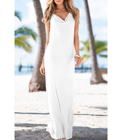 Floor Length White Halter Dress – Simple and Stylish