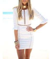 White Mini Dress – Fitted Bodice / Elbow Length Sleeves