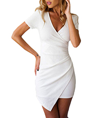 Short Sleeved Plunging Neckline Dress – White / Ruching Details / Irregular Hemline