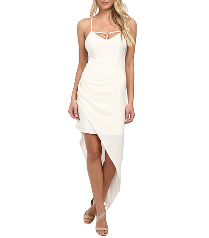 Sexy Bandage Dress – White / String Bodice Details / Irregular Hemline