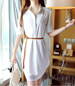 Menswear Style Shirt Dress – White / Lightweight Chiffon / Braided Belt Detail