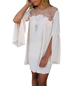 White Shift Dress – White / Split Trumpet Sleeves / Lace and Embroidery Bodice