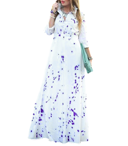 Maxi Dress – White Color / Rose Petal Print
