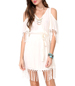 White Fringed Dress – Cut Out Shoulders / Short Length