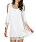 White Shift Dress – Cold Shoulder Style / Deep Scoop Neckline