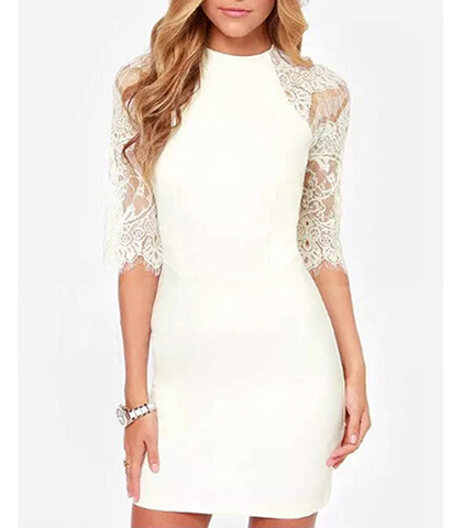 White Lace Dress – Open Lace Back / Fitted Design