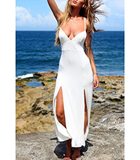 Summer Maxi Dress – Bustier Bodice / White
