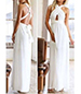 White Convertible Maxi Dress – 2-Way Bodice / Wide Gathered Tie Waistline