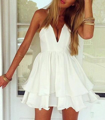 Sexy Double Layered Mini Dress – Solid White / Plunging Neckline