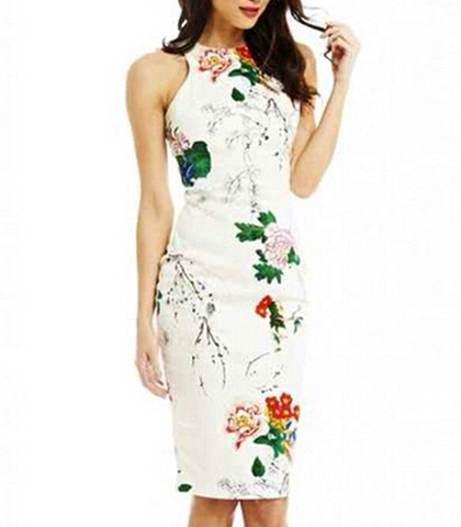 ccef58700d9 Sleeveless Halter Floral Dress - Off White   Asian-Inspired Floral Print