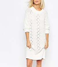 White Sweater Dress – Raglan Sleeves / Special Knit Trim