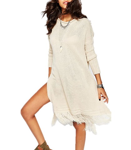 Stylish Fringed Long Sleeved Pullover Sweater Dress – Off White