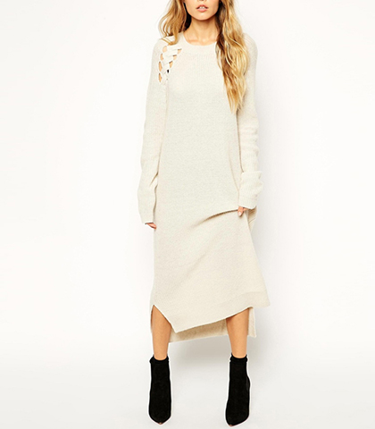 Long Sleeved Sweater Dress – Midi / Off-White with Slit on Sides