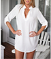 Tunic Dress – White / Long Sleeves / Small Stand Up Collar