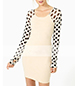 Mini Bodycon Style Dress – White / Black Polka Dotted Sleeves