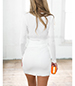 Bodycon Dress – Plunging Neckline / Decoratively Gathered / White
