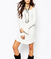 Long Sleeved Dress – Solid White / Round Neckline / Large Ruffles Sleeves