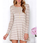 Striped Swing-Style Dress – Tan and White / Long Sleeves
