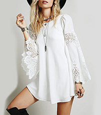 Mini Lace Dress – White / Long Bell Lace Inserts Sleeves