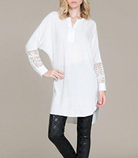 Tunic Mini Dress – White / Lace Panels / Raglan Sleeves