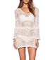 See Through Mini Dress – White / Crochet / Lace Details